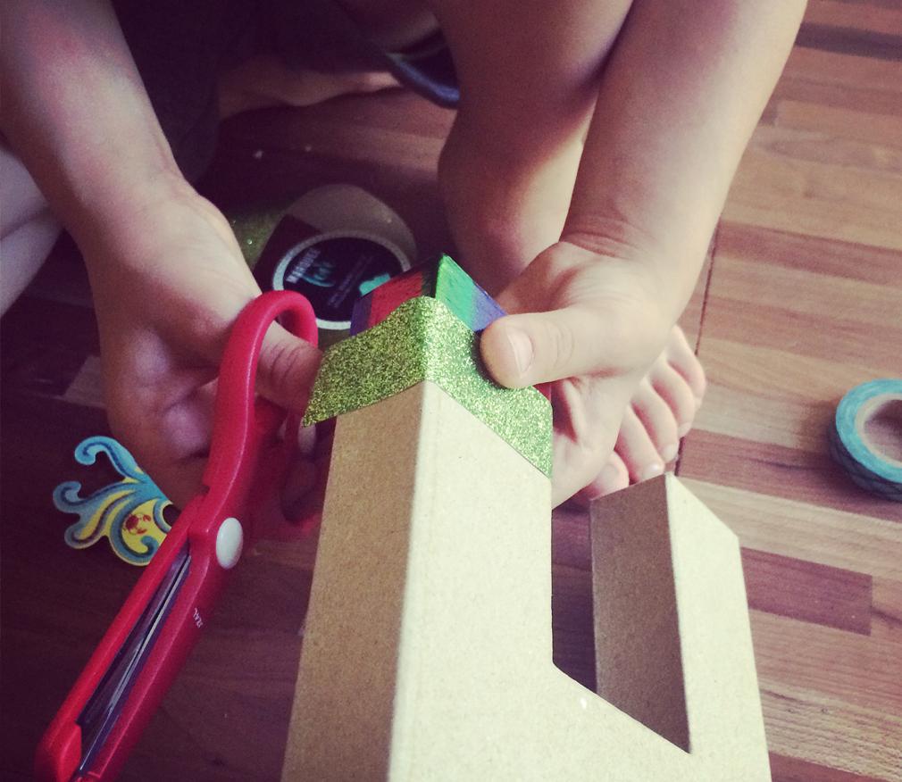 Scissor activities with toddler
