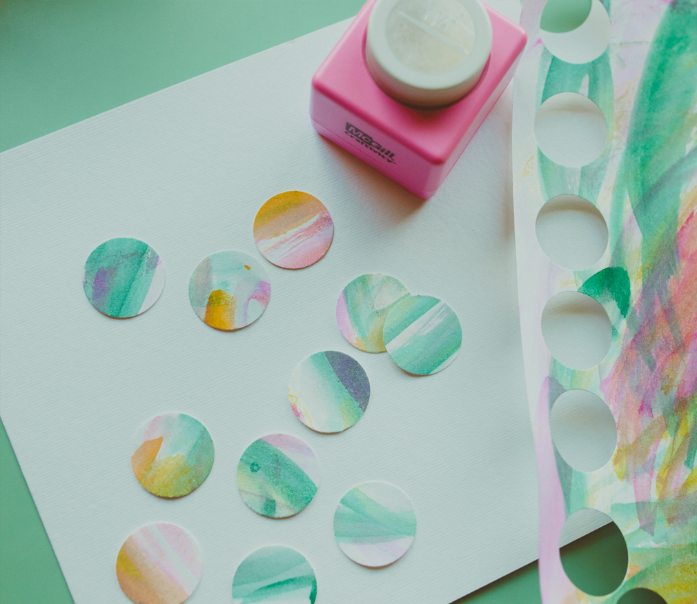 Water color painted garland craft with kids