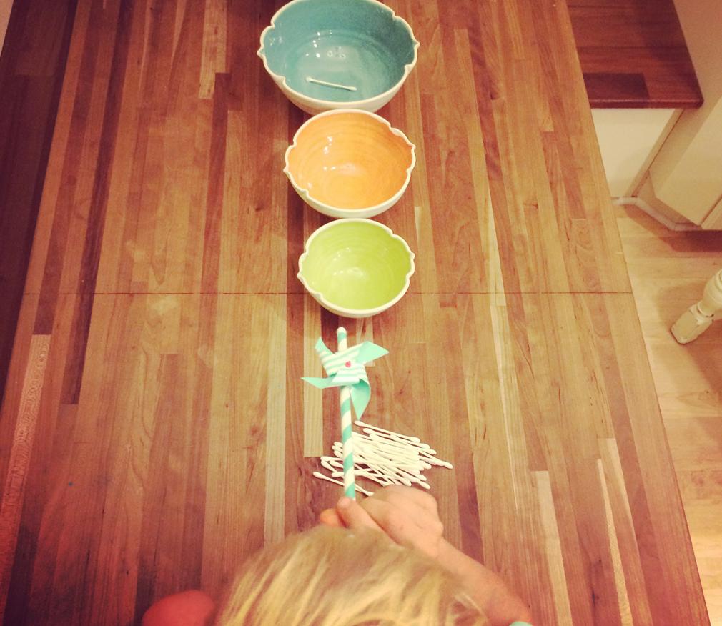 Toddler Activity Q-Tip Blow Darts. themamavillage.com