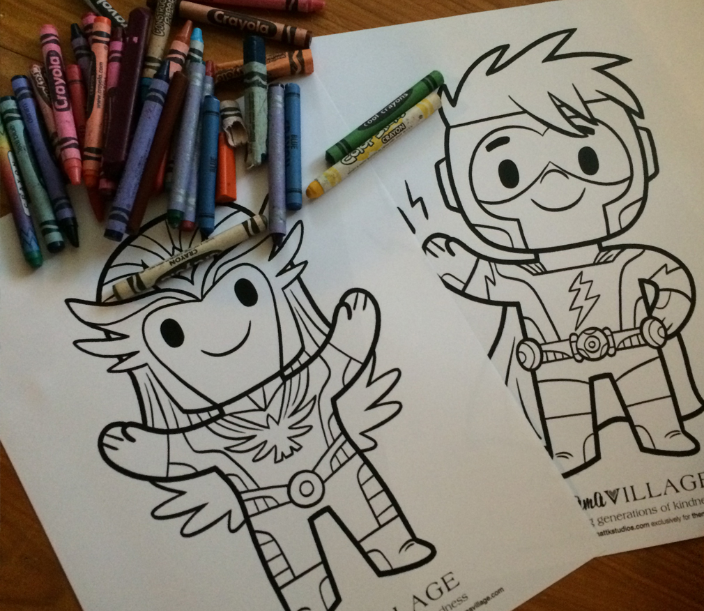 Matt Kaufenberg Hero Coloring Sheets for the Mama Village